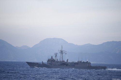 Turkish military ship in Antalya, Turkey on 27 February 2019 [Mustafa Çiftçi/Anadolu Agency]