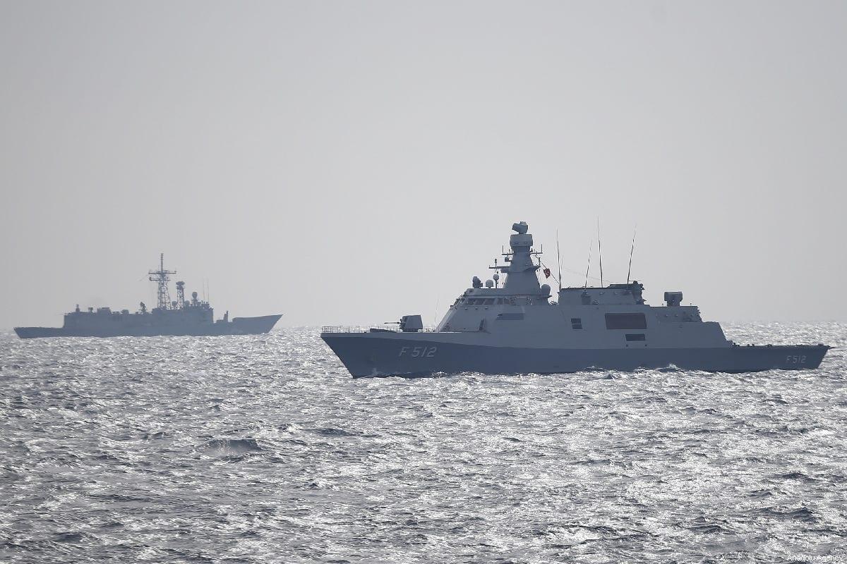 A frigate takes part in 'Blue Homeland 2019' naval drill in Antalya, Turkey on February 27, 2019. [Mustafa Çiftçi - Anadolu Agency]