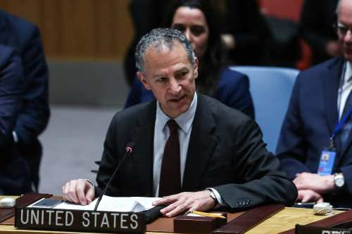 Acting Permanent Representative of the United States Jonathan Cohen, speaks during a UN Security Council meeting in New York, US on 28 February 2019 [Atılgan Özdil/Anadolu Agency]