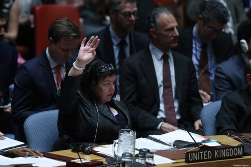 United Kingdom Ambassador to the United Nations Karen Pierce votes a draft resolution put forward by the United States during an United Nations Security Council at United Nations headquarters in New York, USA, 28 February 2019. [Atılgan Özdil - Anadolu Agency]