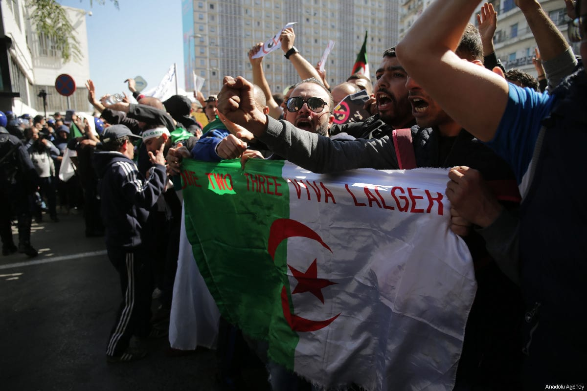 People attend a demonstration to protest against candidacy of President Abdelaziz Bouteflika for a fifth term in Algiers, Algeria on March 01, 2019 [Farouk Batiche / Anadolu Agency]