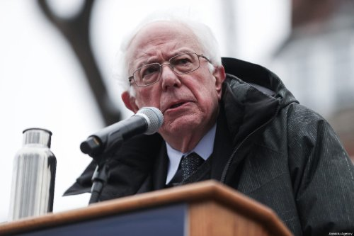Vermont Senator Bernie Sanders delivers a speech during his first presidential campaign rally at Brooklyn College in New York, United States, 2 March, 2019 [Atılgan Özdil/Anadolu Agency]