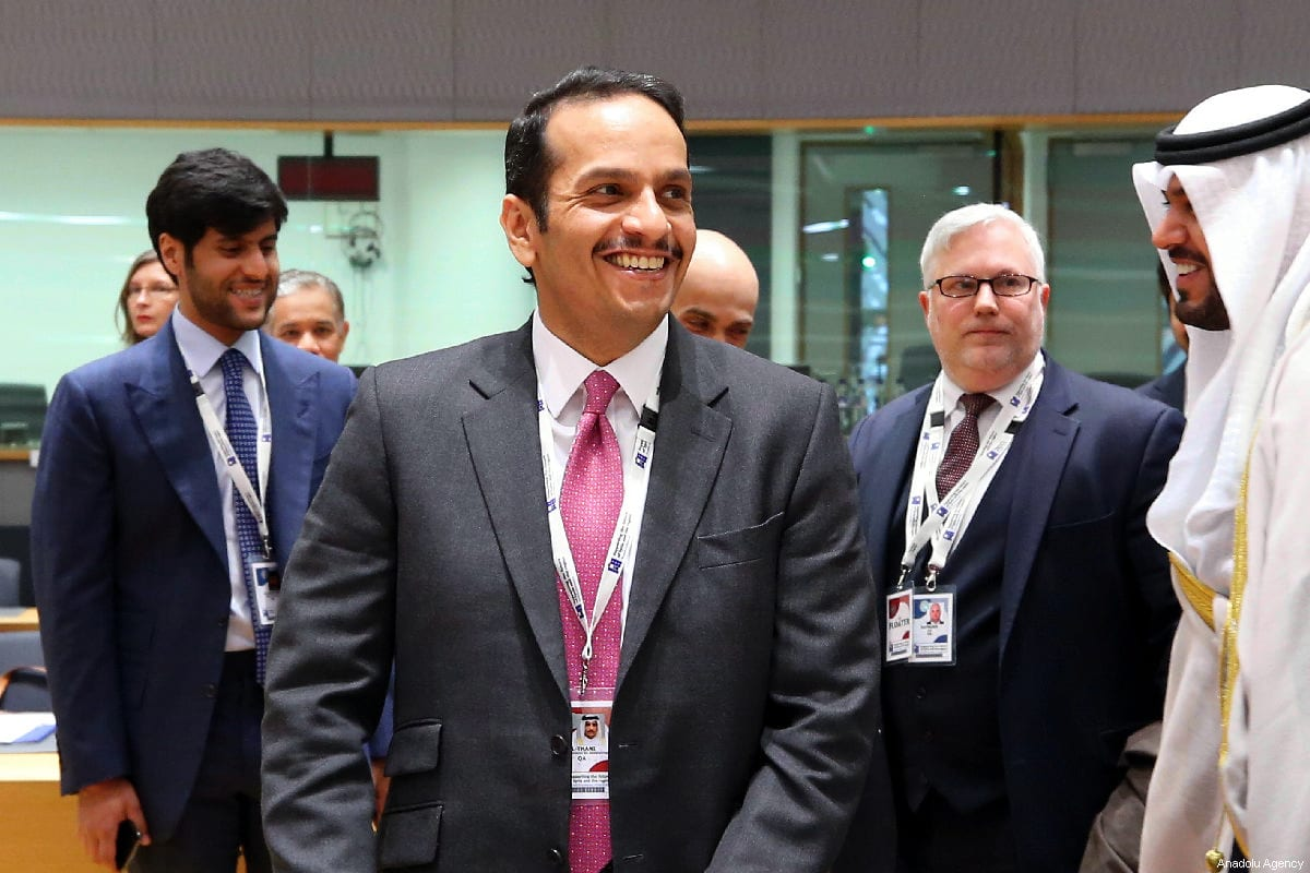 "Qatar's Foreign Minister, Sheikh Mohammed bin Abdulrahman bin Jassim Al Thani attends the conference titled ""Supporting the Future of Syria and Region"" in Brussels, Belgium on March 14, 2019. ( Dursun Aydemir - Anadolu Agency )"