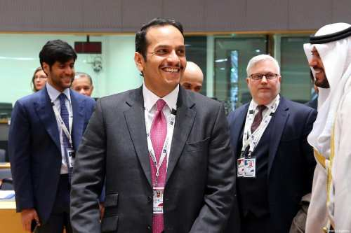"""Qatar's Foreign Minister, Sheikh Mohammed bin Abdulrahman bin Jassim Al Thani attends the conference titled """"Supporting the Future of Syria and Region"""" in Brussels, Belgium on March 14, 2019. ( Dursun Aydemir - Anadolu Agency )"""