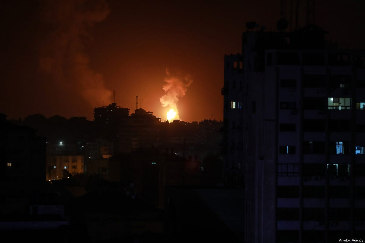 Smoke and flames blow up after Israeli fighter jets carried out airstrikes towards different points of Gaza Strip in Gaza City, Gaza on 15 March 2019 [Ali Jadallah /Anadolu Agency]