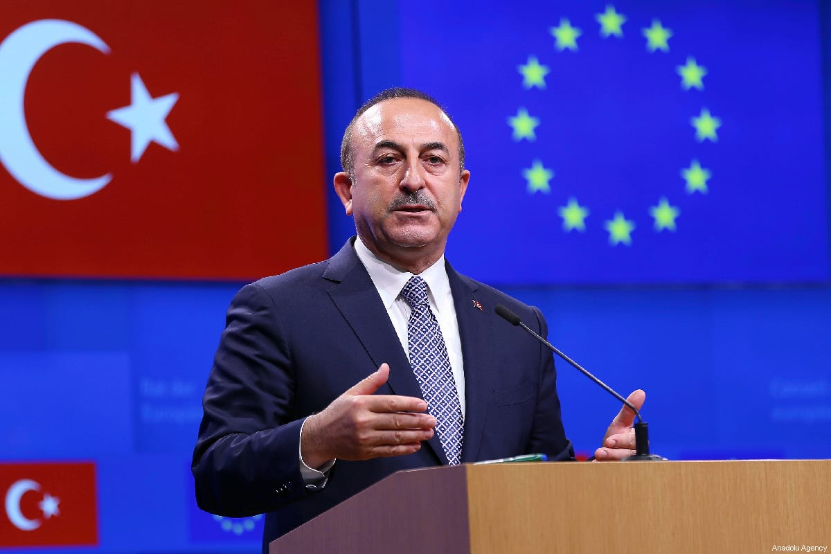 Turkish Foreign Minister Mevlut Cavusoglu in Brussels, Belgium on 15 March, 2019 [Dursun Aydemir/Anadolu Agency]