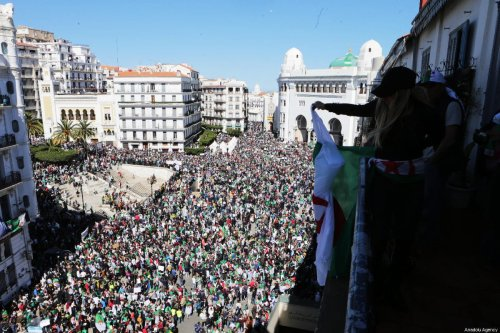 Thousands of people stage a protest march against the then-President Abdelaziz Bouteflika's decision this week to postpone presidential elections in Algiers, Algeria on March 15, 2019 [Farouk Batiche / Anadolu Agency]