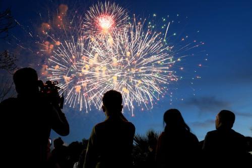 Fireworks light up the sky over Shanadar Park during the Newroz celebrations in Erbil, Iraq on March 20, 2019. [Yunus Keleş - Anadolu Agency]