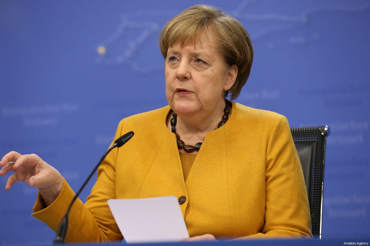 German Chancellor Angela Merkel makes a speech during a press conference within the EU Leaders Summit in Brussels, Belgium on 22 March, 2019 [Dursun Aydemir/Anadolu Agency]