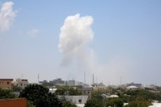 Smoke rises after a terror attack carried out by Al-Qaeda-affiliated terrorist group al-Shabaab with a bomb-laden vehicle near two ministry buildings in the Somalian capital of Mogadishu on March 23, 2019 [Sadak Mohamed / Anadolu Agency]