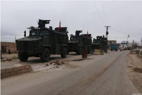 Armoured vehicles of Turkish Armed Forces conduct first independent but coordinated patrol with Russian Armed Forces in order to achieve ceasefire, provide stability in the Tal Rıfat region in Syria on March 26, 2019. [Defense Ministry of Turkey / Handout - Anadolu Agency]