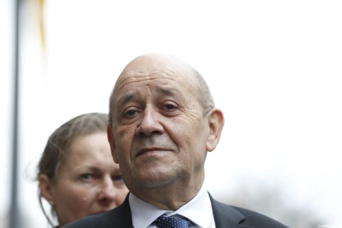 French Foreign Affairs Minister Jean-Yves Le Drian is seen during a press conference in Berlin, Germany on March 27, 2019 [Abdülhamid Hoşbaş / Anadolu Agency]