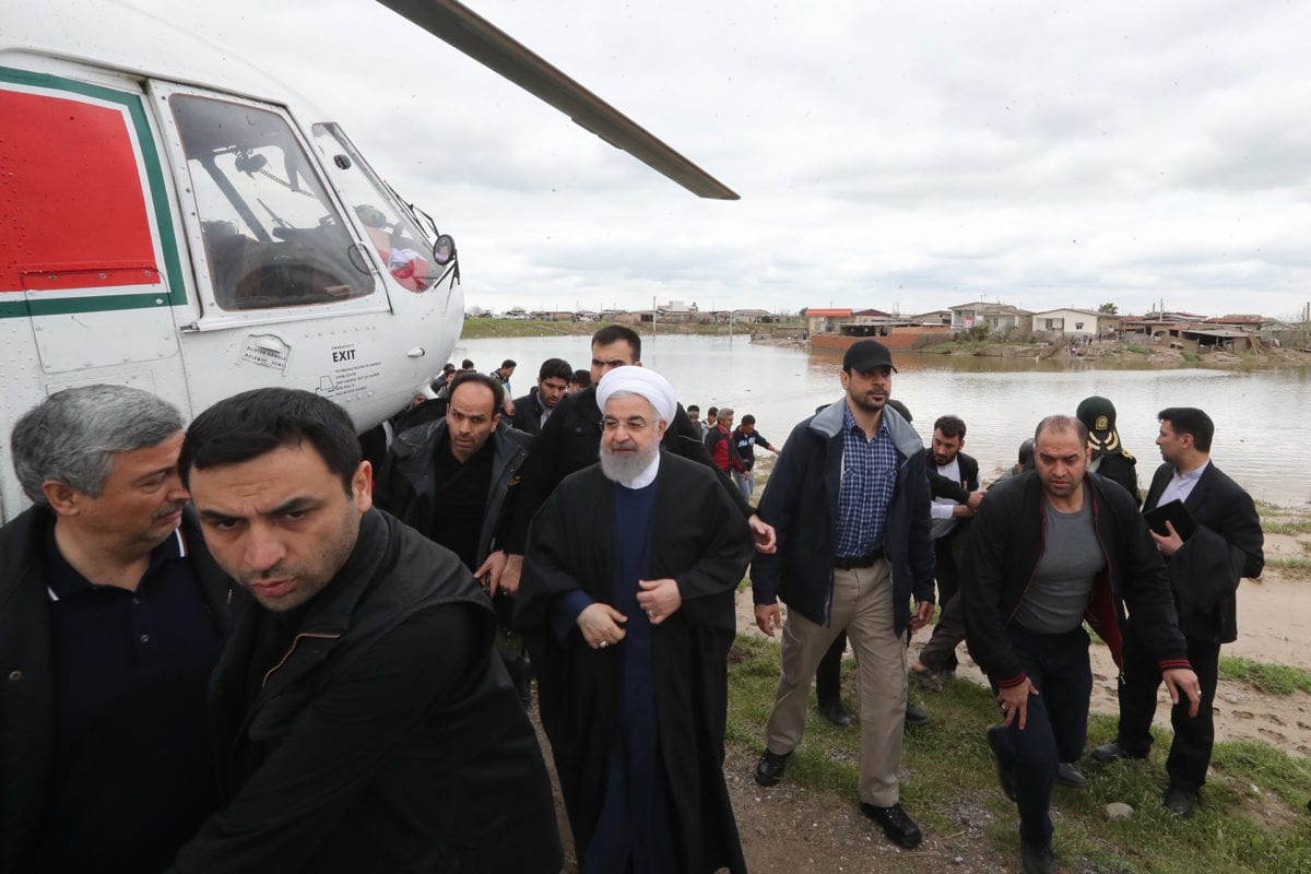 Iranian President Hassan Rouhani visits Golestan Province after the flood disaster in northern Iran on 21 March, 2019 [Presidency of Iran/Handout/Anadolu Agency]