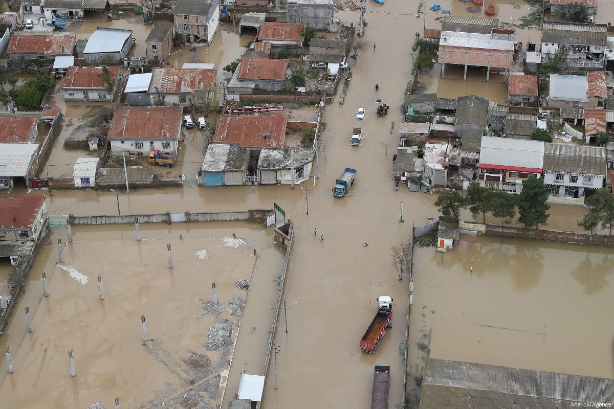 An aerial view of flood-hit areas in Golestan Province in northern Iran on March 21, 2019 [Presidency of Iran / Handout / Anadolu Agency]