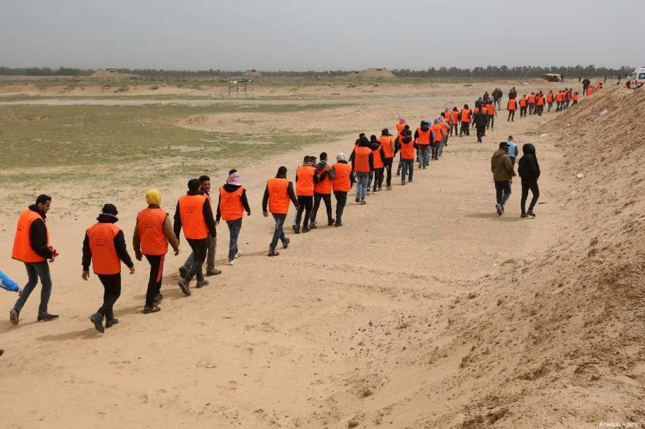"""Palestinian health and civil defence members prepare for the """"Great March of Return"""" and """"Palestinian Land Day"""" demonstrations at Israel-Gaza border located in eastern Rafah, Gaza on March 30, 2019 [Abed Rahim Khatib / Anadolu Agency] Gaza Medics"""