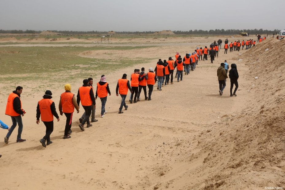 "Palestinian health and civil defence members prepare for the ""Great March of Return"" and ""Palestinian Land Day"" demonstrations at Israel-Gaza border located in eastern Rafah, Gaza on March 30, 2019 [Abed Rahim Khatib / Anadolu Agency] Gaza Medics"
