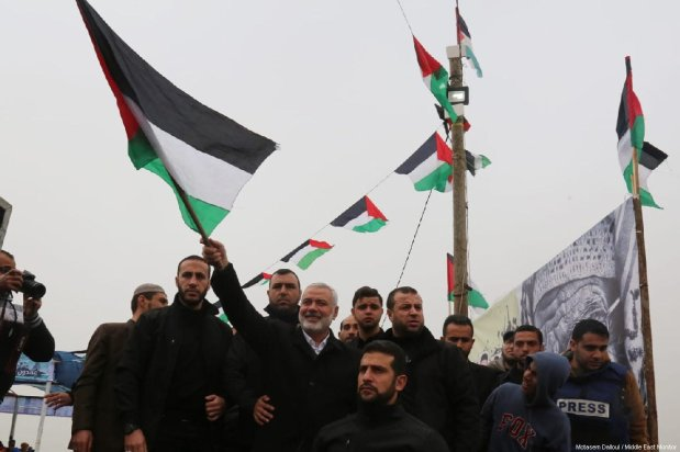 """Ismail Haniyeh, senior political leader of Hamas, attends a rally at the anniversary march of the """"Great March of Return"""" and """"Palestinian Land Day"""" protests at Israel-Gaza border on March 30, 2019 [Motasem Dalloul / Middle East Monitor]"""