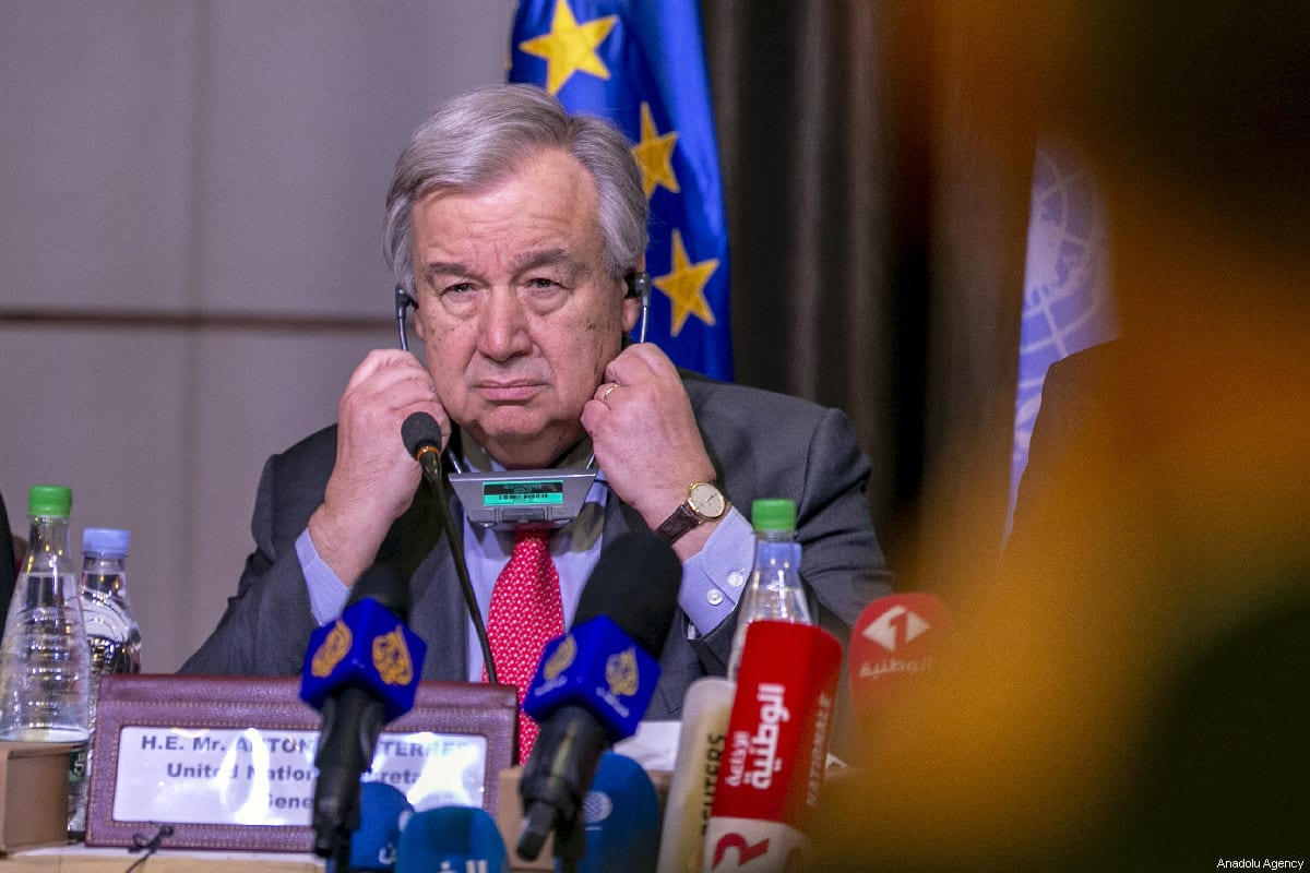 The United Nations Secretary-General António Guterres in Tunis, Tunisia on 30 March 2019 [Yassine Gaidi/Anadolu Agency]