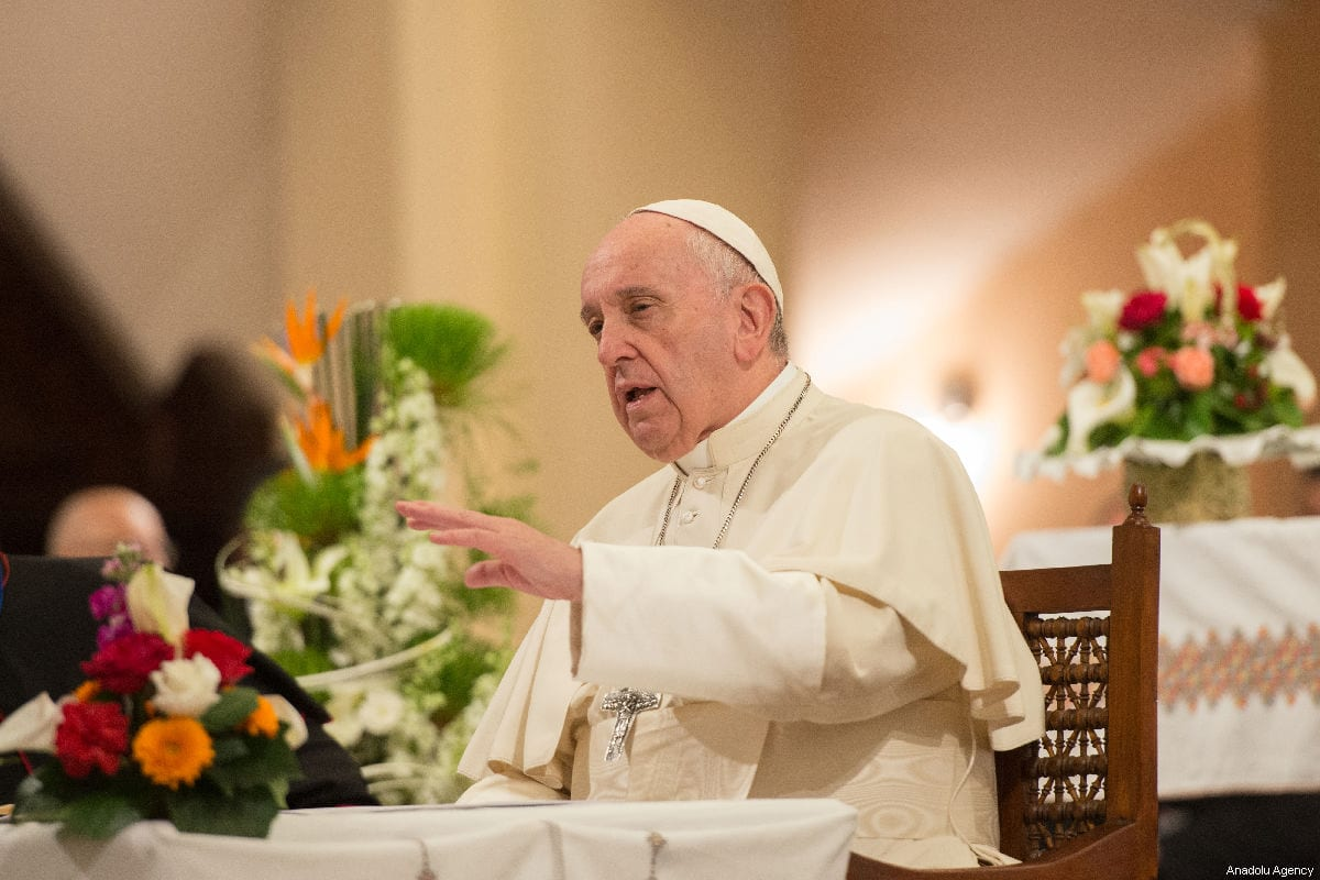 Pope Francis makes a speech during his visit at the St. Peter's Cathedral in Rabat, Morocco on March 31, 2019 [Jalal Morchidi / Anadolu Agency]