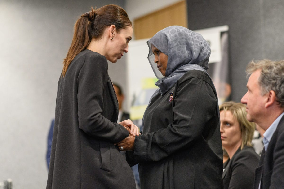 New Zealand Prime Minister Jacinda Ardern greets a first responder during a visit at the Justice and Emergency Services precinct on March 20, 2019 in Christchurch, New Zealand. [Kai Schwoerer/Getty Images]
