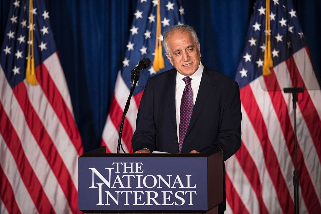 Former US Ambassador to Afghanistan Zalmay Khalilzad speaks before Republican US Presidential hopeful Donald Trump speaks about foreign policy at the Mayflower Hotel on 27 April 2016 in Washington, DC. [BRENDAN SMIALOWSKI/AFP/Getty Images]