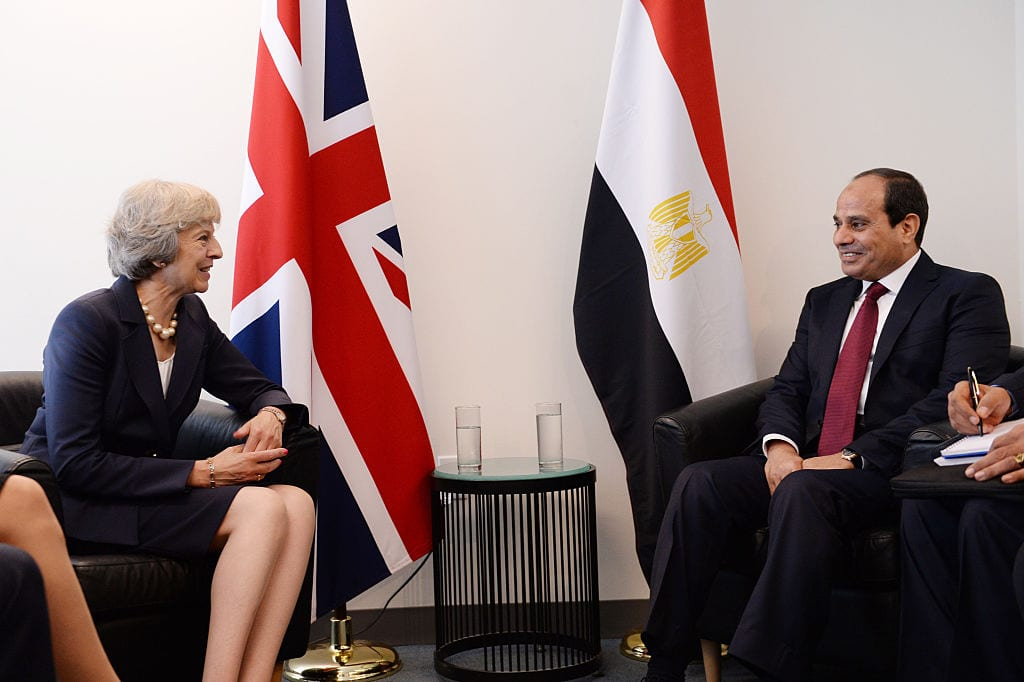 Prime Minister Theresa May meets Egyptian president Abdel-Fattah El-Sisi at the United Nations Headquarters in New York, where they are attending the UN General Assembly on 20 September 2016 in New York City. [Stefan Rousseau - Pool /Getty Images]