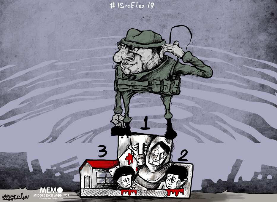 With elections weeks away, Israel pounds Gaza - Cartoon [Sabaaneh/MiddleEastMonitor]