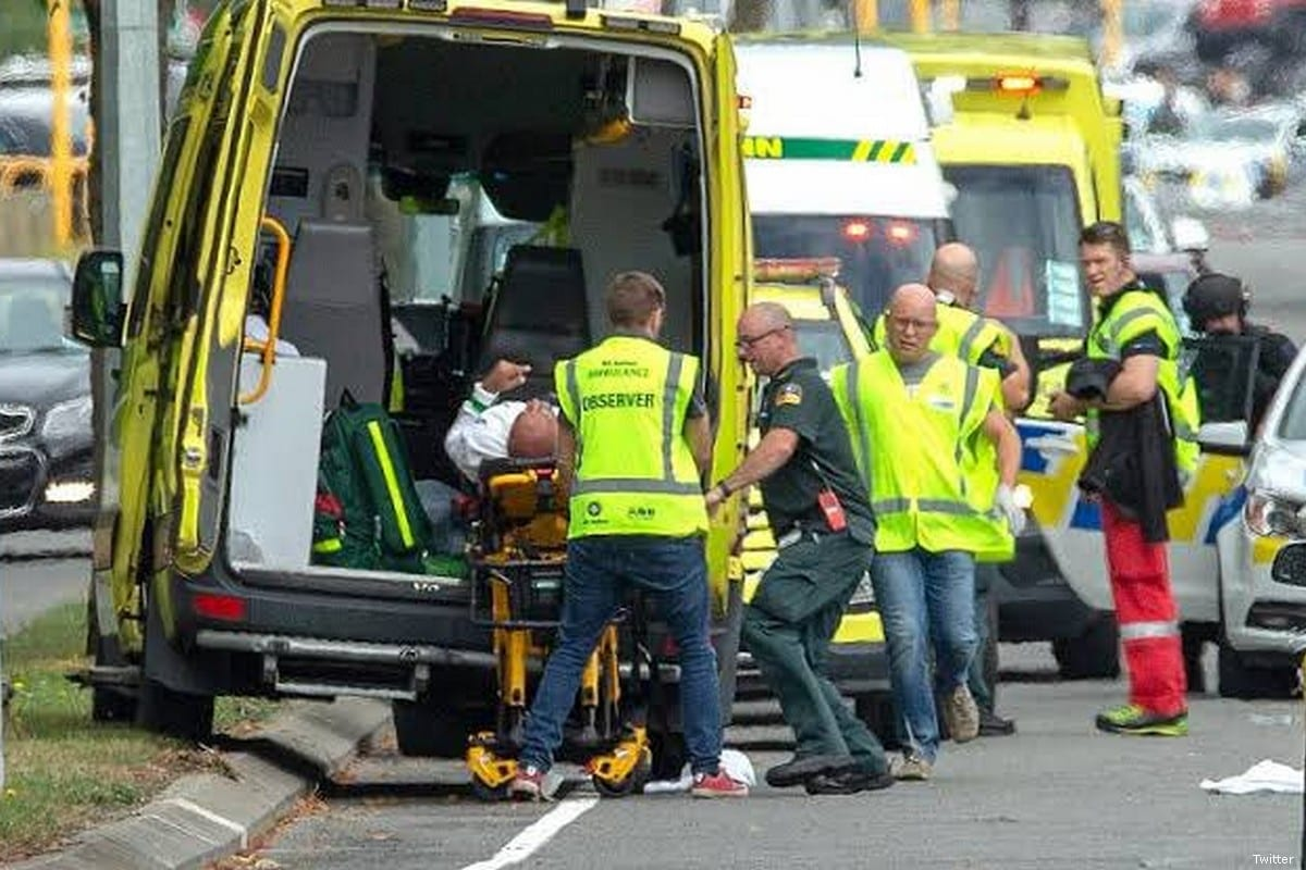 Ambulances arrive at the scene of a terror attack in New Zealand when a gunmen fired at worshippers during Friday prayer on 15 March 2019