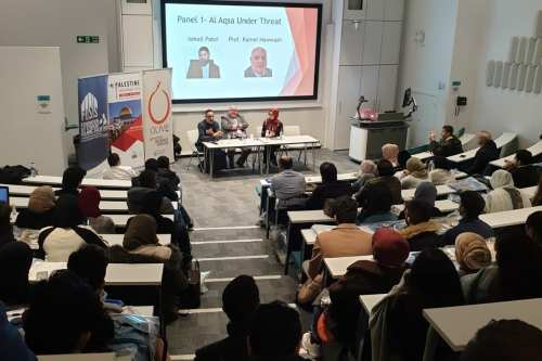 Members can be seen at a conference on Palestine in London, UK on 16 March 2019