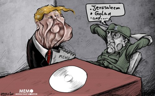 US to recognise Israel sovereignty over Golan - Cartoon [Sabaaneh/MiddleEastMonitor]