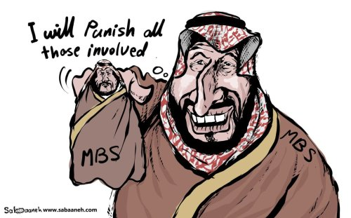 What was the role of Prince MBS in Jamal Khashoggi's death - Cartoon [Sabaaneh/MiddleEastMonitor]
