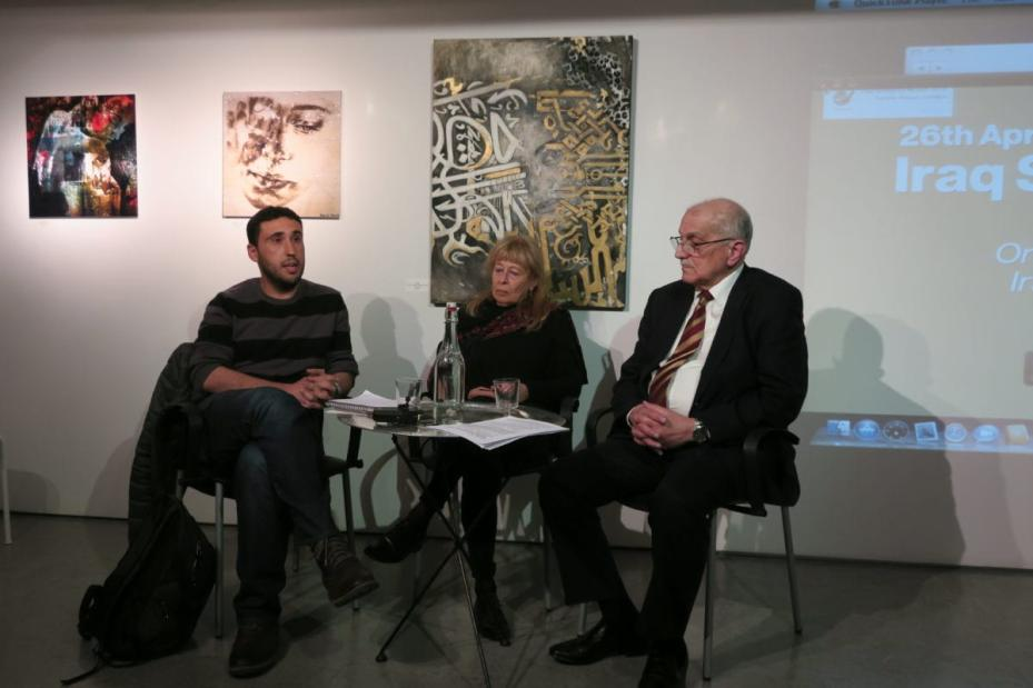 Algerian writer and activist Hamza Hamouchene, Italian Professor of Genetics Paola Manduca and Iraqi consultant engineer Dr. Basil Abdul Jabbar Latif Assa'ati at 'Iraq Solidarity Month: Use of weapons leading to birth defects across Middle East'