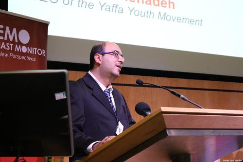 Sami Abu Shehadeh, CEO of the Yaffa Youth Movement speaks at MEMO's 'Present Absentees' conference in London on April 27, 2019 [Middle East Monitor]