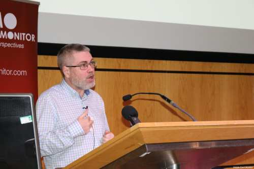 David Cronin, Associate Editor of the Electronic Intifada at MEMO's 'Present Absentees' conference in London on April 27, 2019 [Middle East Monitor]
