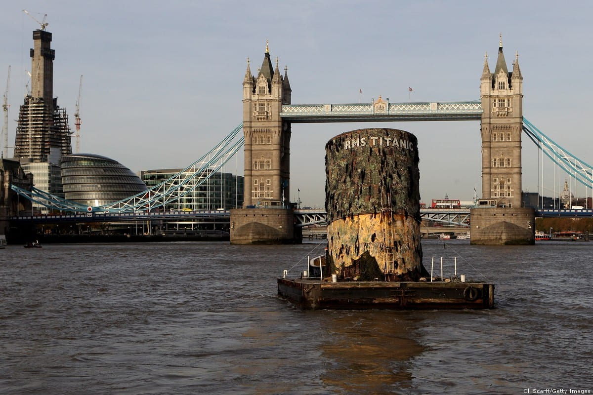A replica of the upper section of the fourth funnel of the Titanic is towed along the river Thames towards Tower Bridge on 3 November 2010 in London, England [Oli Scarff/Getty Images]