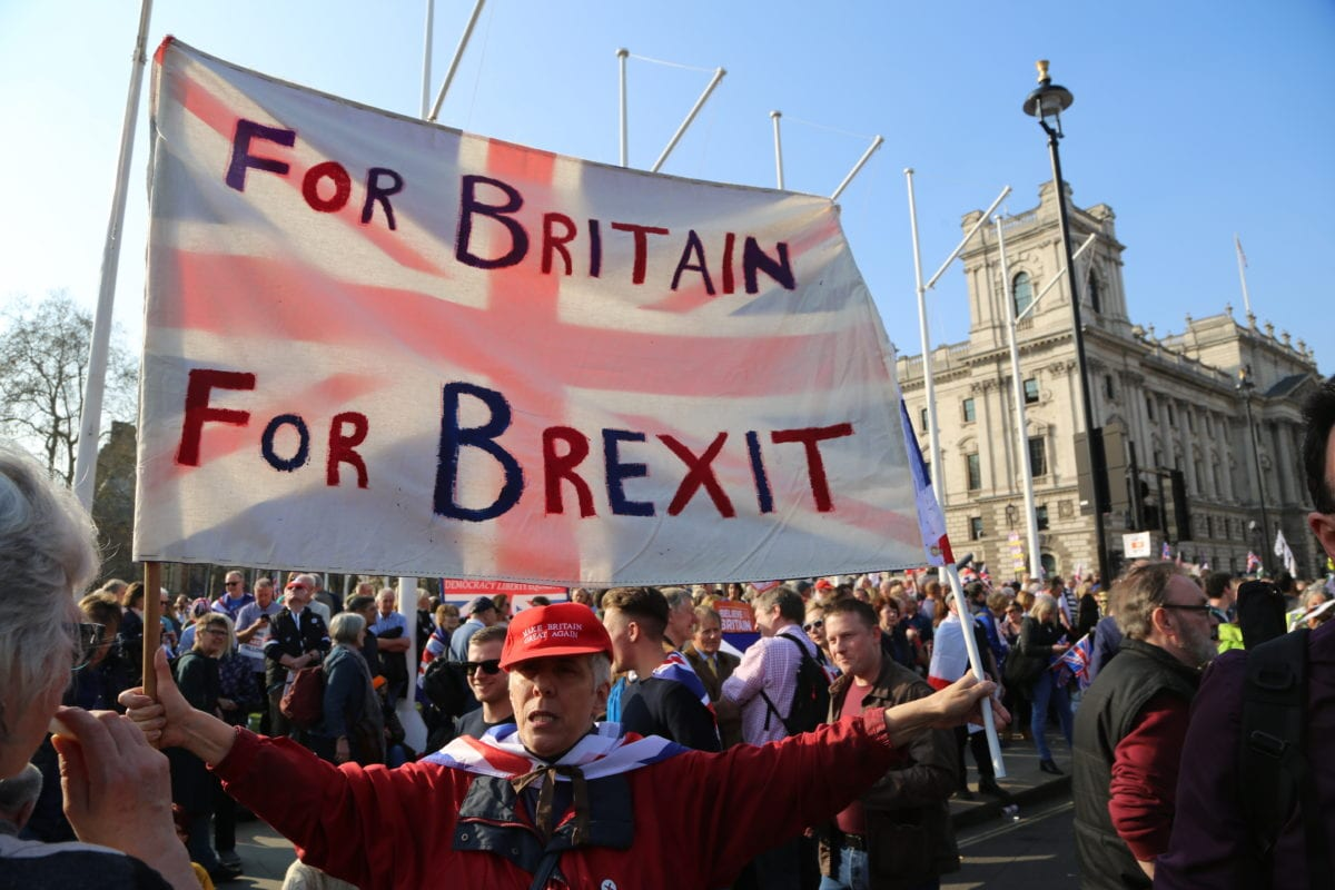 Pro Brexit protesters gather to stage a demonstration at Parliament Square as British MPs debate the Brexit deal before voting it for the third time in London, United Kingdom on 29 March 2019. ( Tayfun Salcı - Anadolu Agency )