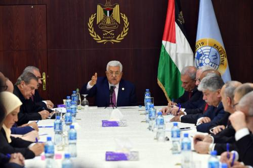 Palestinian President Mahmoud Abbas (C) holds the first cabinet meeting with the newly announced government at the Presidential Office in Ramallah, West Bank on 13 April 2019. [Thaer Ghanaim / Palestinian Presidency / Handout - Anadolu Agency]