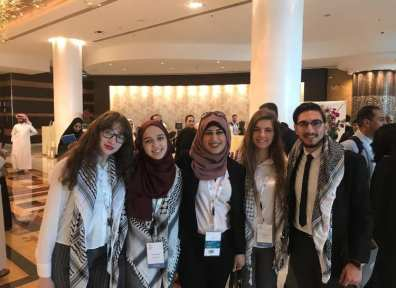 The debating team of Jerusalem's Al-Quds University at the 5th International Universities' Debating Championship in Doha, Qatar, March 2019