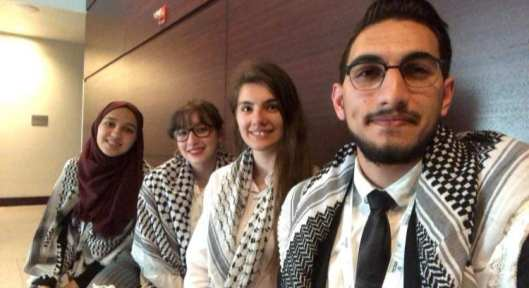 The debating team of Jerusalem's Al-Quds University at the 5th International Universities' Debating Championship in Doha, Qatar, March 2019