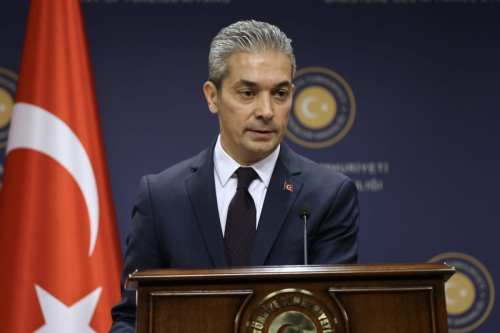 Turkish Foreign Ministry Spokesman Hami Aksoy holds a press conference in Ankara, Turkey on 26 April 2019. [Fatih Aktaş - Anadolu Agency]