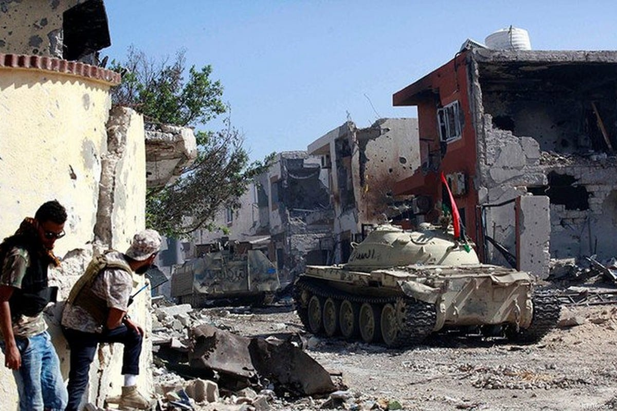 Debris can be seen following Libyan National Army (LNA) forces attempt to take over Libya's capital, Tripoli on 8 April 2019