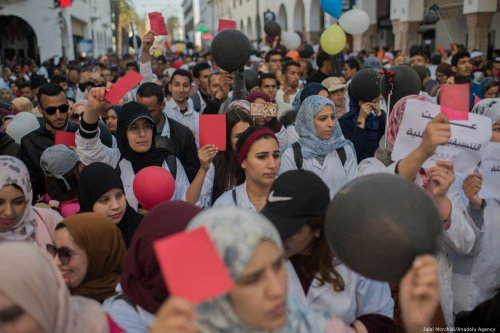 Moroccan teachers march to the Ministry of Education to protest for job security in Rabat, Morocco on 8 April 2019 [Jalal Morchidi/Anadolu Agency]