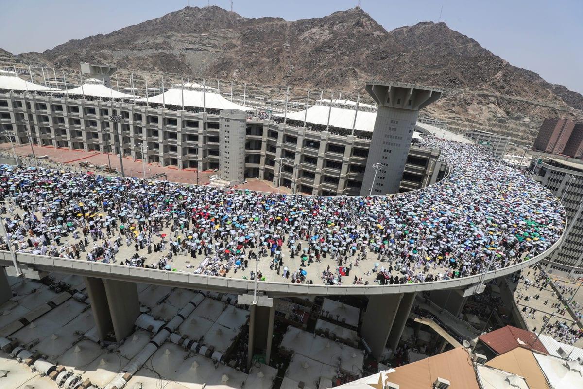 Pilgrims at the Jamarat Bridge in Mina, Mecca during Hajj season [AHMAD AL-RUBAYE/AFP/Getty]