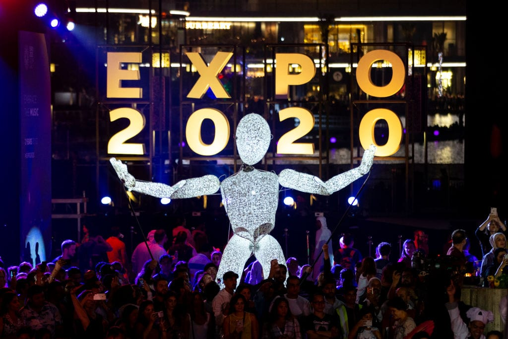 Expo 2020 Dubai celebrates 2 Years To Go through a specially choreographed show of the Dubai Fountain and countdown on the Burj Khalifa at Burj Park on October 20, 2018 in Dubai, United Arab Emirates. [Christopher Pike/Getty Images for Expo 2020]