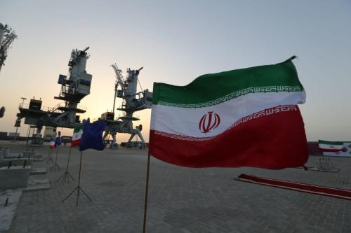 Iranian flags flutter during an inauguration ceremony for new equipment and infrastructure on February 25, 2019 at the Shahid Beheshti Port in the southeastern Iranian coastal city of Chabahar, on the Gulf of Oman. [ATTA KENARE / AFP/ Getty]