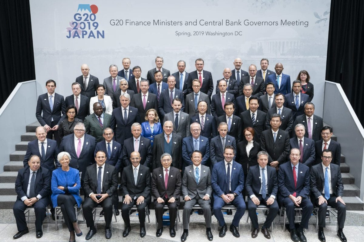 The G20 Finance Ministers and Central Bank Governors pose for a formal family photo at IMF Headquarters during the 2019 IMF/World Bank Spring Meetings on 12 April, 2019 in Washington, DC [Stephen Jaffe/IMF via Getty Images]