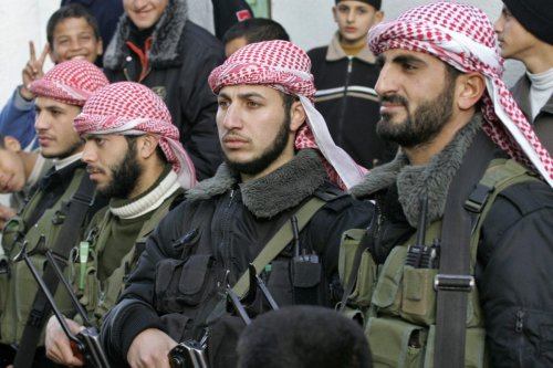 Hamas security agents on 6 February 2007 [AFP PHOTO/MAHMUD HAMS / Getty]