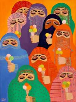 Artwork showcasing different-coloured niqabs holding ice creams by Palestinian artist Laila Shawa