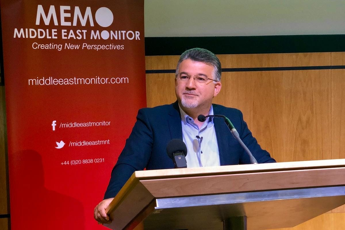 Knesset Member Dr Yousef Jabareen at MEMO's 'Present Absentees' conference in London on April 27, 2019 [Middle East Monitor]