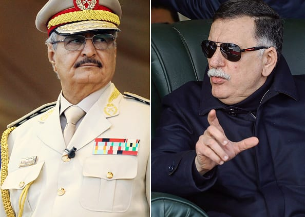 This composition of file pictures shows Libya's unity government Prime Minister Fayez al-Sarraj (R) during a graduation ceremony for new coastguard cadets in Tripoli on January 3, 2019 and Libyan Strongman Khalifa Haftar, who heads the rival government that operates from the eastern Libyan city of Bayda, at a military parade in Benghazi on May 7, 2018. [Abdullah DOMA and Mahmud TURKIA / AFP / Getty]